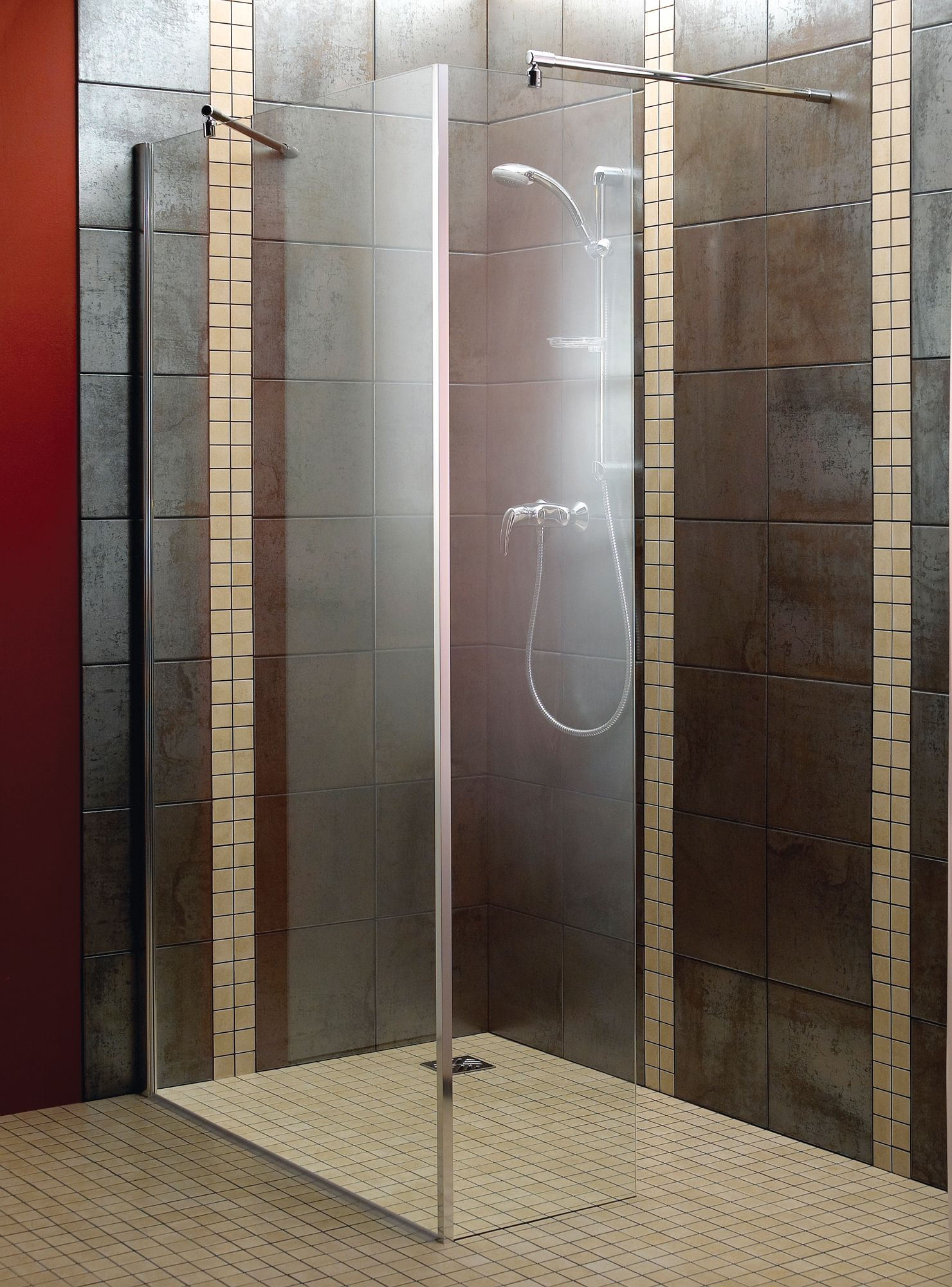 Aquadry L Shaped Walk In Shower Screen W 1200mm