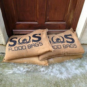 Active sand bags in front of a front door