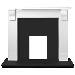 Black & white Micro marble Fireplace surround set