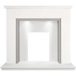 Grey & white Micro marble Fireplace surround set