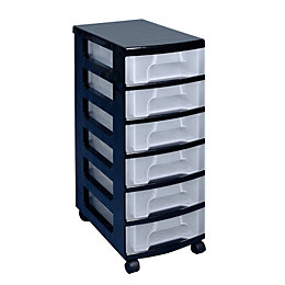 Really Useful Black & Clear 42L Plastic Drawer