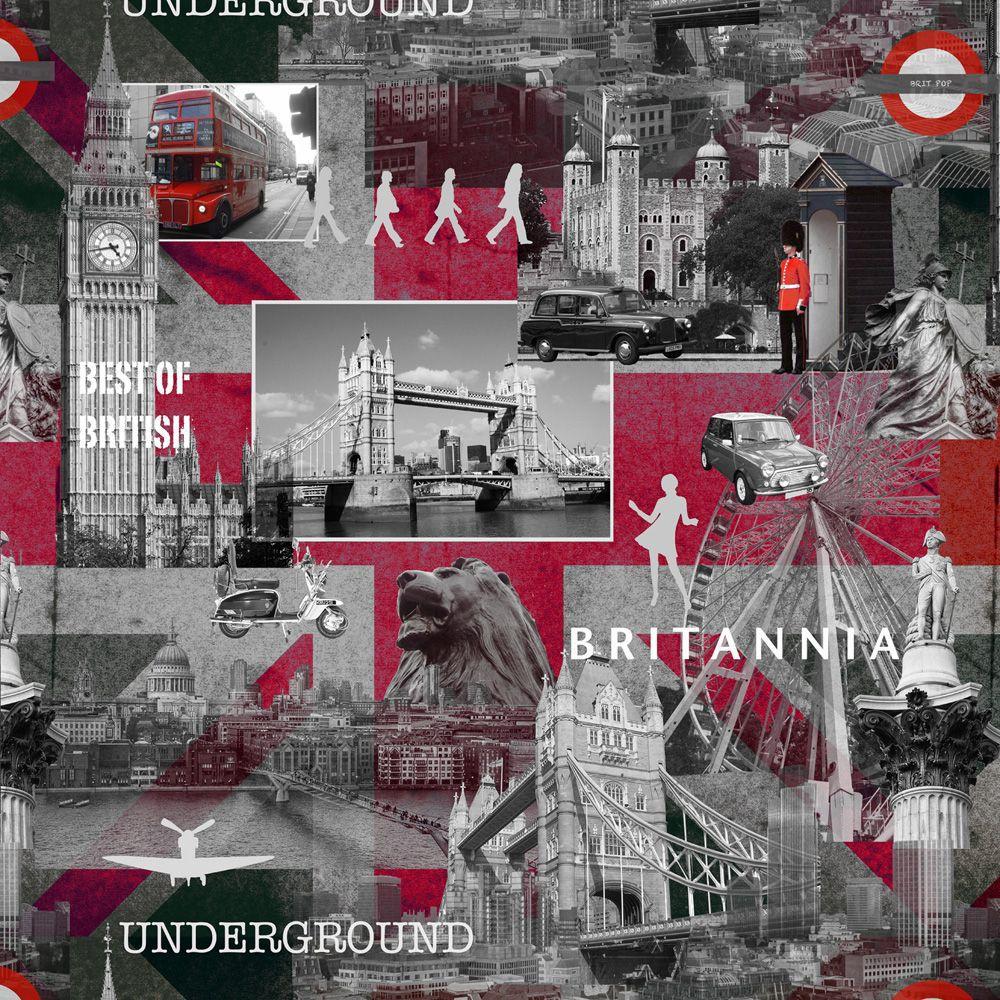 Muriva Black Grey Amp Red Best Of British Wallpaper
