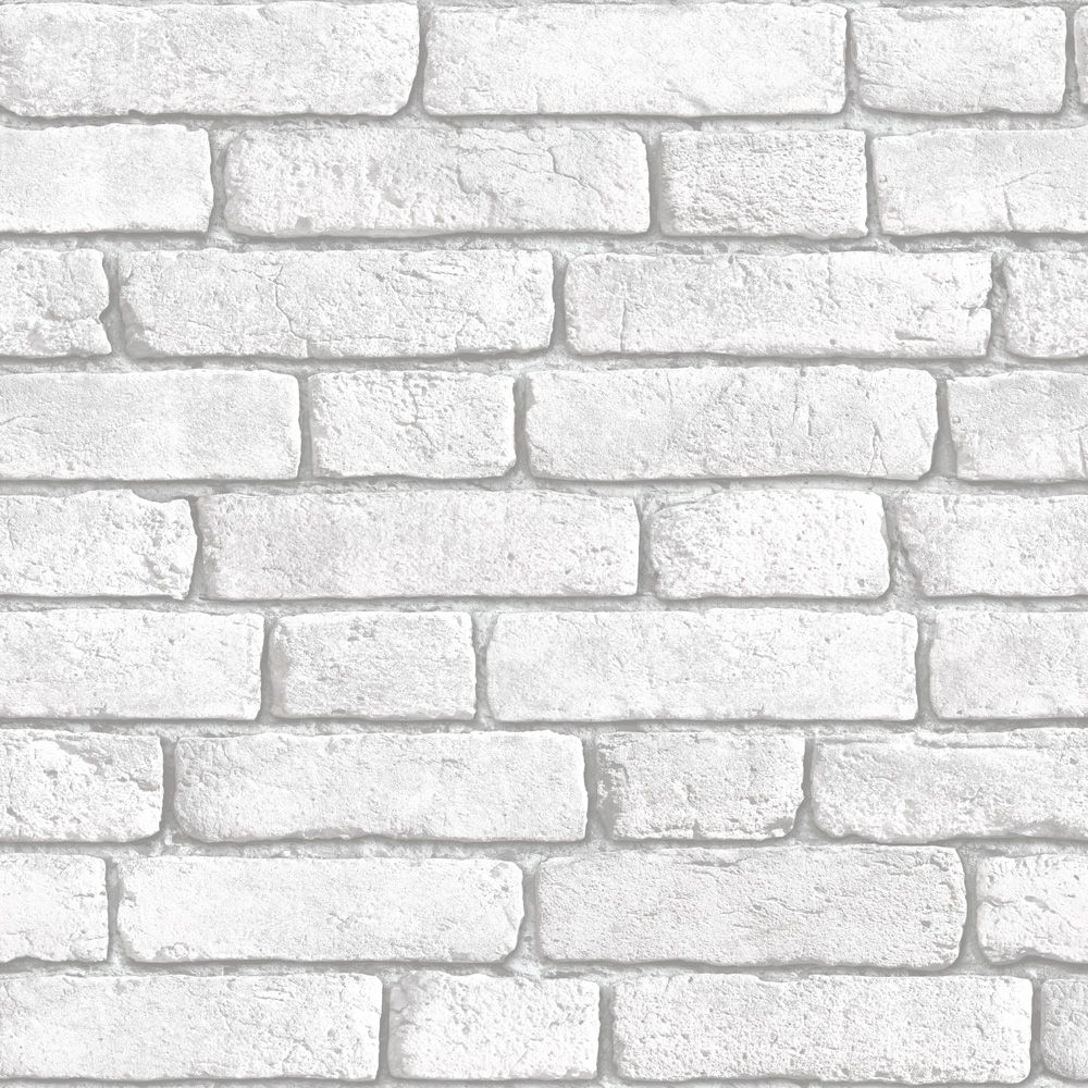 Muriva white brick wall wallpaper clearance diy at b q for Grey brick wallpaper living room