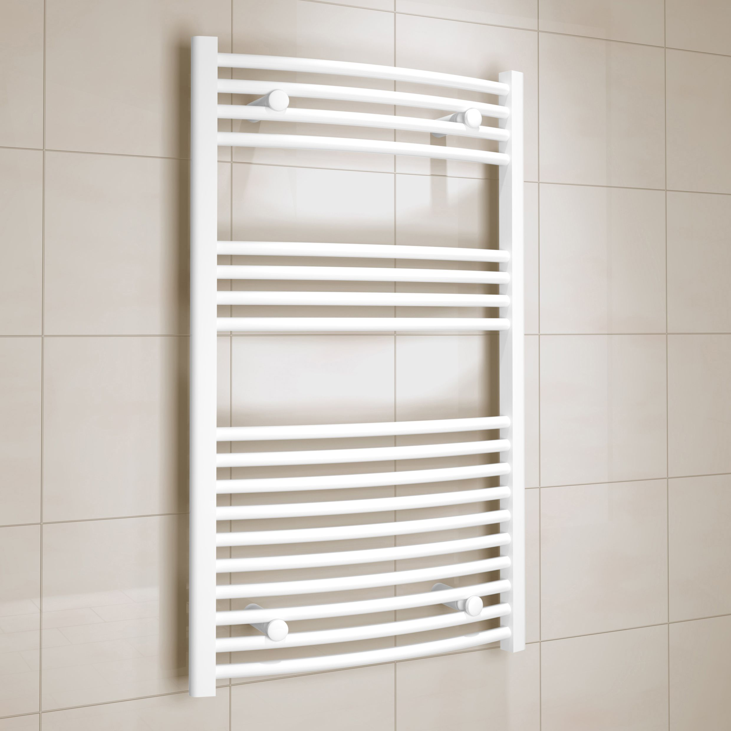 Kudox White Towel warmer (H)1000mm (W)600mm