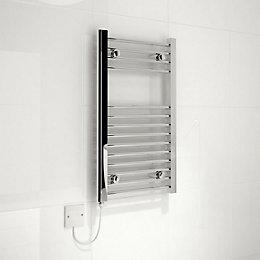 Kudox Electric Silver Towel Rail (H)700mm (W)400mm