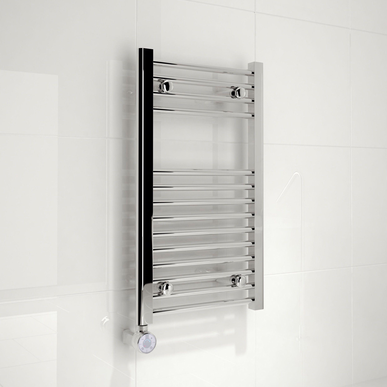 Kudox Electric Towel Rail 400mm X 700mm Chrome: Kudox Electric Silver Towel Rail (H)700mm (W)400mm