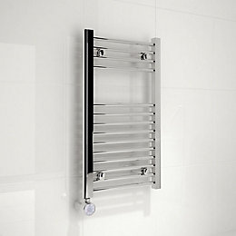 Kudox Electric Silver Towel Rail (H)700mm (W)400mm