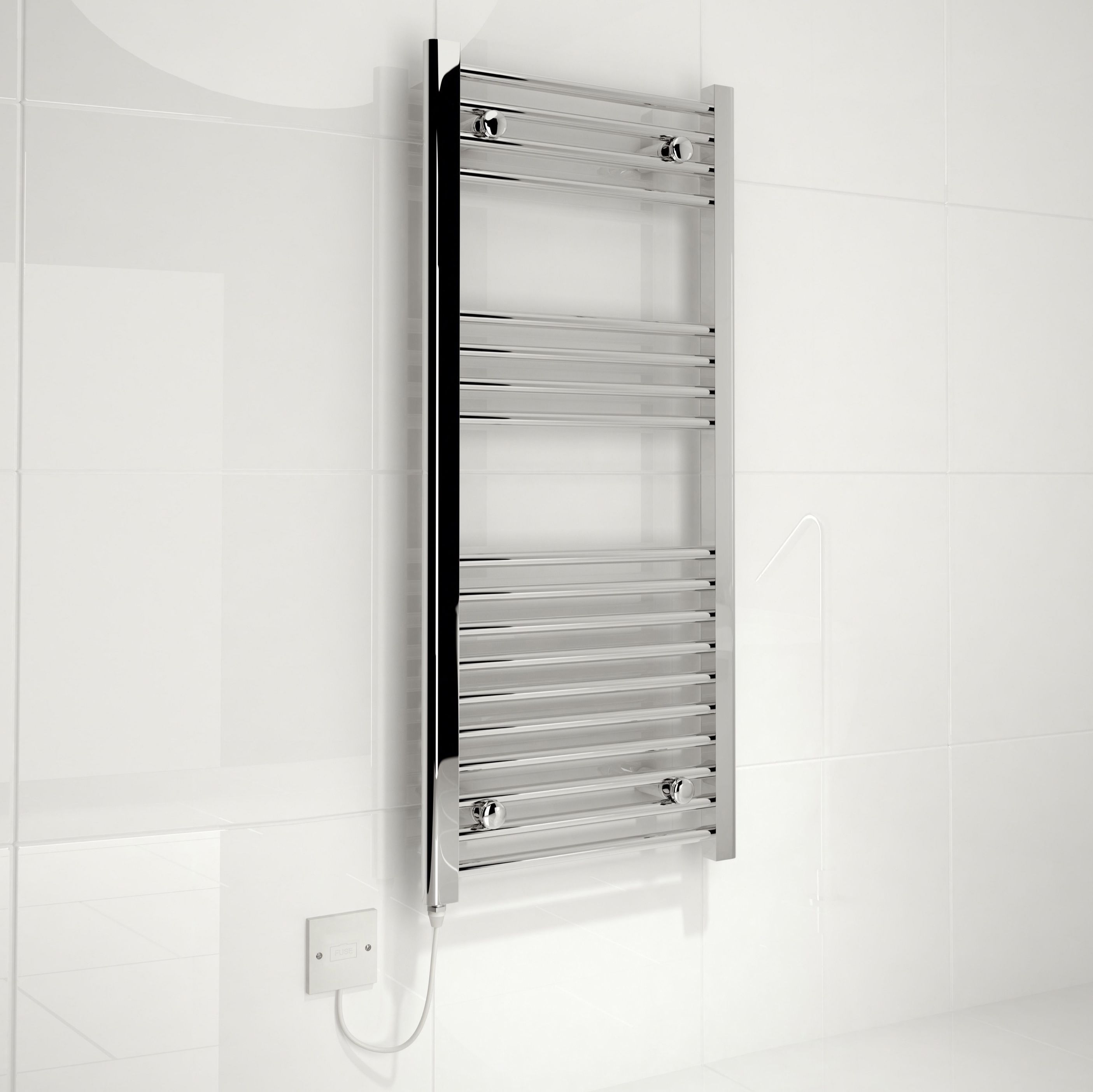 Kudox Electric Silver Towel Rail (H)1000mm (W)450mm
