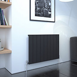 Kudox AluLite Flat Designer radiator Black, (H)600mm (W)850mm