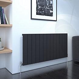 Kudox AluLite Flat Designer radiator Black, (H)600mm (W)1230mm