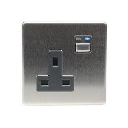 LightwaveRF 13A Stainless Steel Single Socket