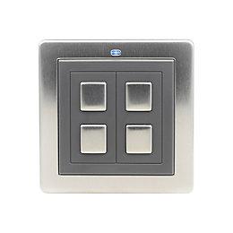 LightwaveRF Double Stainless Steel Wireless Dimmer Switch