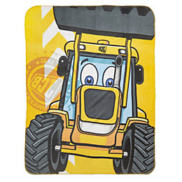 JCB Yellow & black Tractor Fleece Blanket