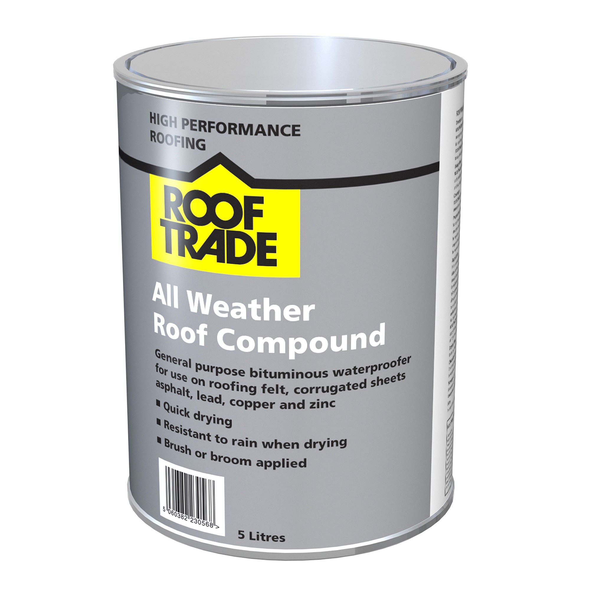 Rooftrade Black All Weather Roof Compound 5L | Departments | DIY at B&Q