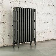 Arroll Neo-Classic 4 Column radiator, Cast grey (W)634mm (H)760mm