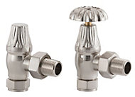 Arroll Brushed nickel Angled Manual radiator valve