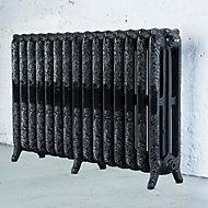 Arroll Montmartre 3 Column radiator, Black & silver (W)1234mm (H)760mm