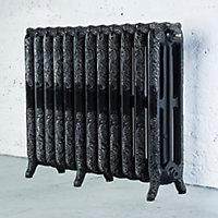 Arroll Montmartre 3 Column radiator, Black & silver (W)994mm (H)760mm