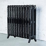 Arroll Montmartre 3 Column radiator, Black & silver (W)834mm (H)760mm