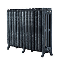 Arroll Montmartre 3 Column radiator, Pewter (W)1074mm (H)760mm