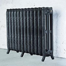 Arroll Montmartre 3 Column radiator, Pewter (W)994mm (H)760mm