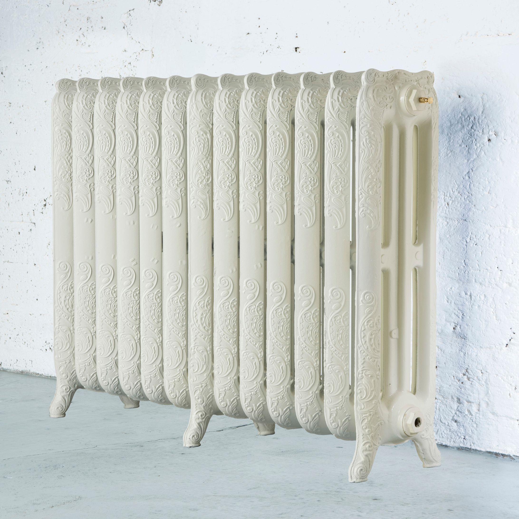 Arroll Montmartre 3 Column radiator, Cream (W)1154mm (H)760mm