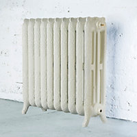 Arroll Montmartre 3 Column radiator, Cream (W)834mm (H)760mm