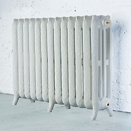 Arroll Montmartre 3 Column radiator, White (W)1074mm (H)760mm