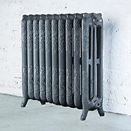 Arroll Montmartre 3 Column radiator, Cast grey (W)834mm (H)760mm