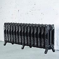 Arroll Montmartre 3 Column radiator, Black & silver (W)1234mm (H)470mm