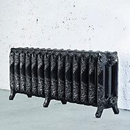 Arroll Montmartre 3 Column radiator, Black & silver (W)1154mm (H)470mm