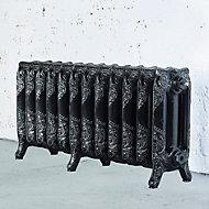 Arroll Montmartre 3 Column radiator, Black & silver (W)994mm (H)470mm