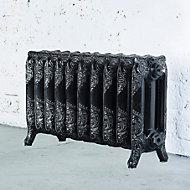 Arroll Montmartre 3 Column radiator, Black & silver (W)834mm (H)470mm