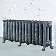 Arroll Montmartre 3 Column radiator, Cast grey (W)1154mm (H)768mm