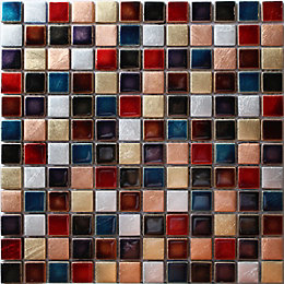 Ibiza Multicolour Hand painted effect Glass Mosaic tile,