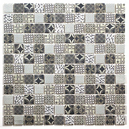 Casablanca White & blue Moroccan patterned Glass Mosaic