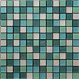 Acapulco Multicolour Glass & marble Mosaic tile, (L)300mm