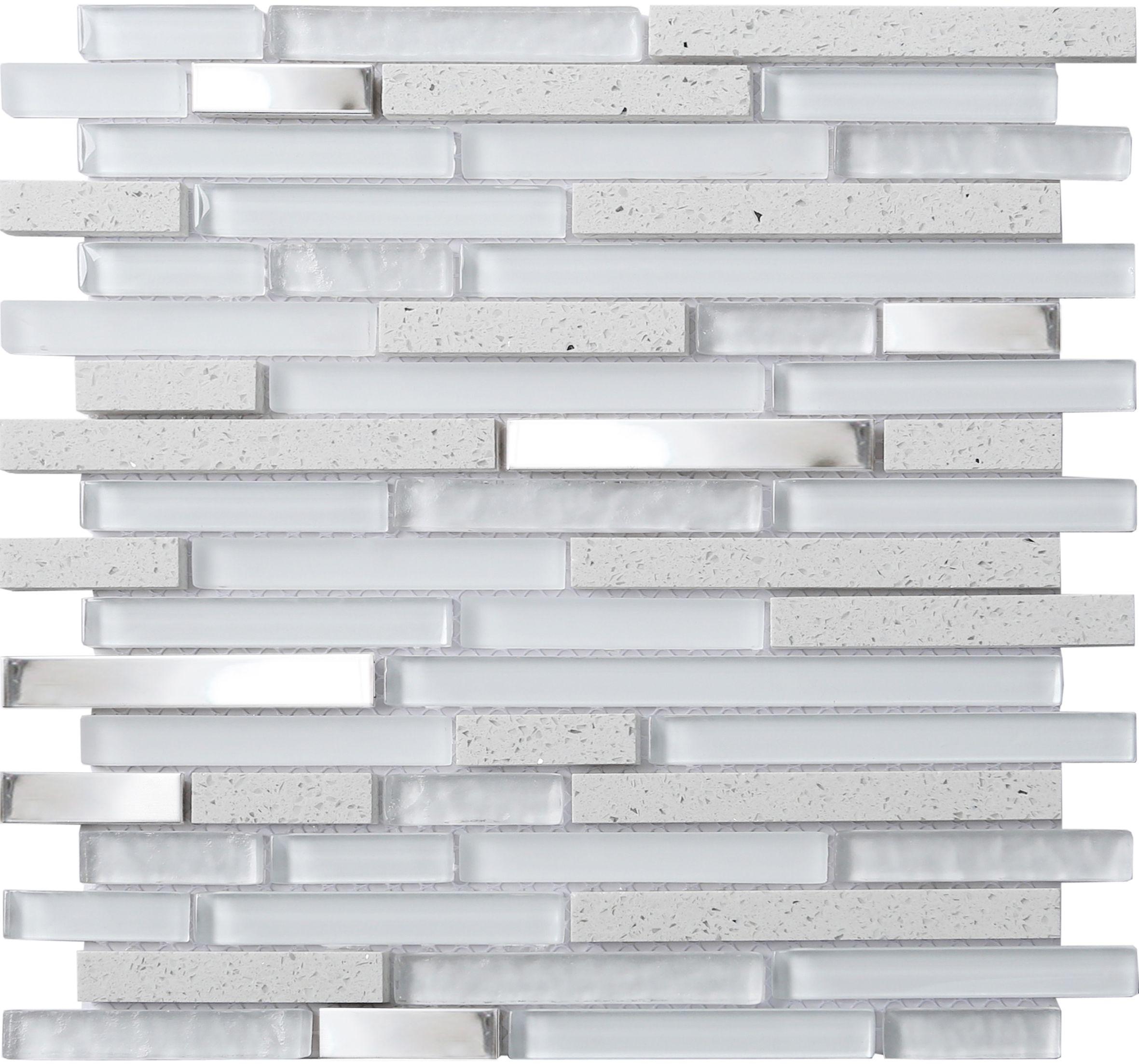 Quartz Stone Effect Gl Metal Mosaic Tile L 306mm W 303mm Departments Diy At B Q