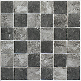 Formation Grey & white Glass & marble Mosaic