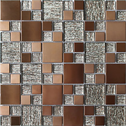 Copper Luxe Copper Brushed Glass & metal Mosaic