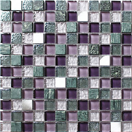 Camden Purple Stone effect Glass & marble Mosaic