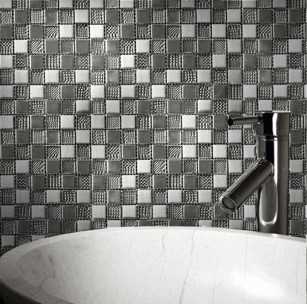 Hammerfest Silver effect & white Glass Wall mosaic