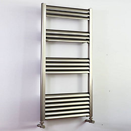 Accuro Korle Champagne Silver Towel warmer (H)1000mm (W)500mm