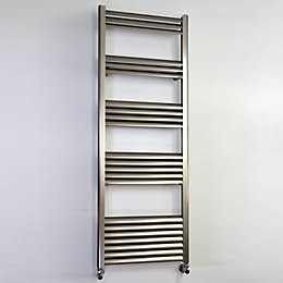 Accuro Korle Champagne Silver Towel warmer (H)1400mm (W)500mm