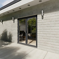 Crystal Grey PVCu & Aluminium Glazed Patio Bi Folding Door, (H)2104mm (W)1804mm