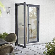 Crystal Grey PVCu & aluminium Glazed Standard French double door, (H)2104mm (W)1204mm