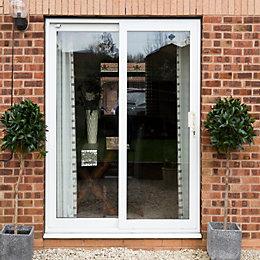 White PVCu Glazed Sliding Door Patio Door, (H)2090mm
