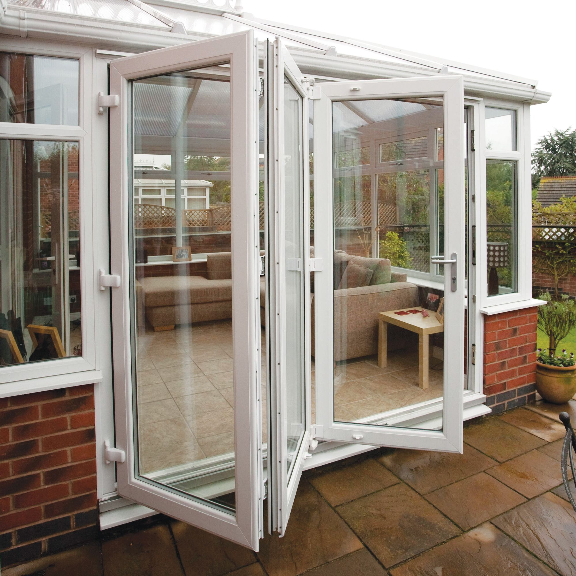 PVC-U White Smooth Glazed External Bi-Folding Door, (H)2090mm