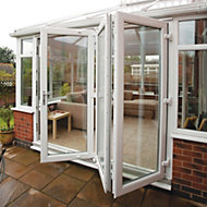 PVC-U White Smooth Glazed External Bi-fold Bi-folding door, (H)2090mm (W)2390mm