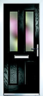 Composite 4 panel Black PVCu & GRP Glazed External Front door & frame LH, (H)2055mm (W)920mm